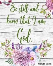 Faith & Inspirational Fabric Panel- Floral Pslam 46:10