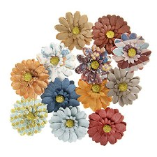 Floral Daisies Embellishments, 12ct- Printed