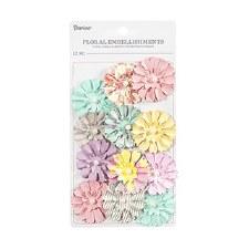 Floral Cosette Embellishments, 12ct- Pastels