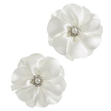 Floral Bridal Blooms Embellishments, 2ct- White w/ Gems