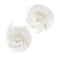 Floral Bridal Blooms Embellishments, 2ct- Feathered with Pearls