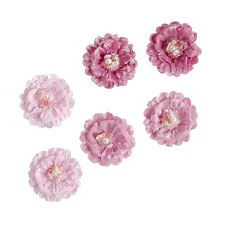 Floral Beaded Embellishments, 6ct- Ballet Pink