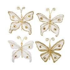 Butterfly Embellishments, 4ct- Glitter Gold