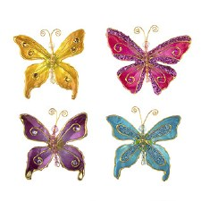 Butterfly Embellishments, 4ct- Mix w/ Gold Accents