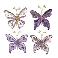 Butterfly Embellishments, 4ct- Glitter Purple