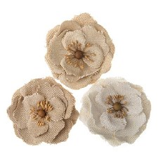 Floral Burlap Embellishments, 3ct- Natural