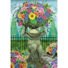 Garden Flag, Suede- Floral Frog Statue