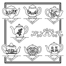Aunt Martha's Iron On Transfers- Floral Teapots #3898