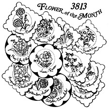 Aunt Martha's Iron On Transfers- Flower of the Month #3813