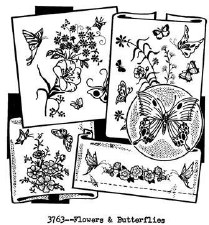 Aunt Martha's Iron On Transfers- Flowers & Butterflies #3763