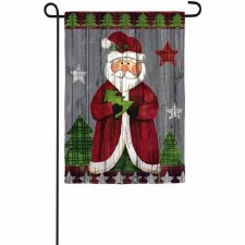 Holiday Garden Flag- Folk Santa
