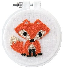 """Punch Needle Kit w/ Hoop, 3.5""""- Fox"""
