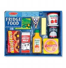 Melissa & Doug Food/Kitchen Play Set- Wooden Fridge Food