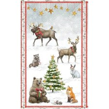 Christmas & Winter Fabric Panel- Friends Gathering