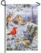 Holiday Garden Flag- Songbirds Frosty Morning
