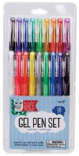 Gel Pen Set 18Pcs Ast Colors