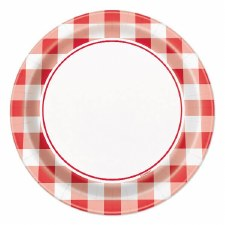 """Red Gingham Paper Plates, 7""""- 8ct"""