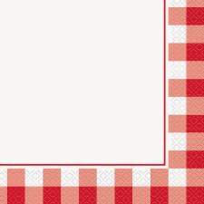 """Red Gingham Napkins, 6.5""""- 16ct"""