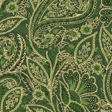 Glad Tidings Fabric w/ Metallic- Paisley, Green