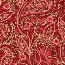 Glad Tidings Fabric w/ Metallic- Paisley, Red