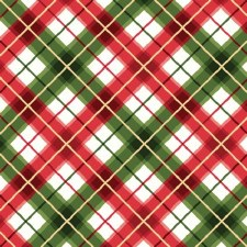 Glad Tidings Fabric w/ Metallic- Plaid, Red & Green