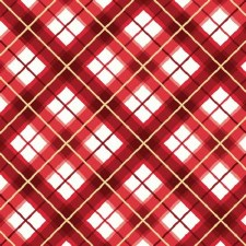 Glad Tidings Fabric w/ Metallic- Plaid, Red
