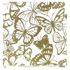 12x12 Glitter Cardstock- Gold Butterflies