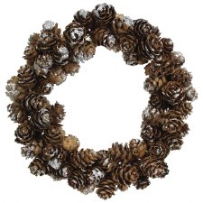 """6"""" Pinecone w/ Snow Candle Ring"""