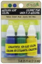 Glycerin Soap Colorants- Yellow, Blue, Green