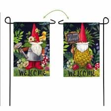 Garden Flag, Suede- Gnomes in the Garden