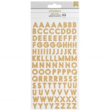 Glitter Alphabet Stickers- Small Sans Serif, Gold