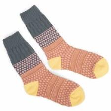 Textured Gallery Crew Socks - Golden Fields