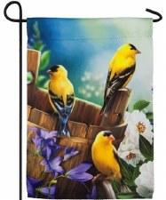 Garden Flag, Suede- Goldfinches