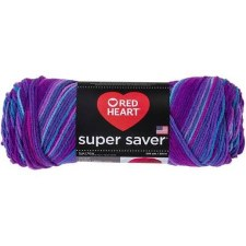Red Heart Super Saver Yarn, Mulit-Color- Grape Fizz