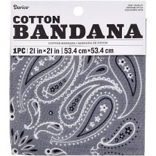 "Cotton Bandana 21""x21""- Paisley Grey"