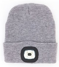 Night Scout Rechargable LED Beanie- Gray