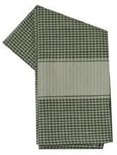 "Mini Check w/ Cream Band 20"" x 28"" Tea Towel- Green"
