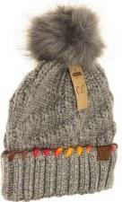 CC Knit Beanie, Ombre Thread w/ Pom- Grey