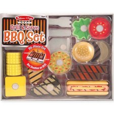 Melissa & Doug Food/Kitchen Play Set- Wooden BBQ Set