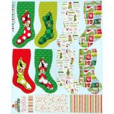 Christmas & Winter Fabric Panel- Grinch Stockings
