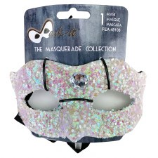 Half Mask- White Glitter Beads