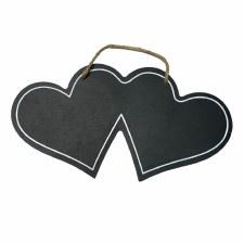"MDF Hanging Chalkboard Double Hearts 12.5"""