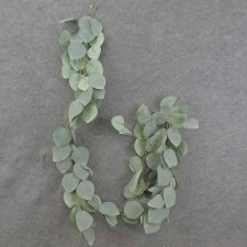 Heart Shaped Leaf Garland, 6'- Frosted Green