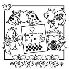 Aunt Martha's Iron On Transfers- Hearty Pig #3854
