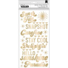 Dear Lizzy Here & Now Stickers- Gold Phrase Thickers