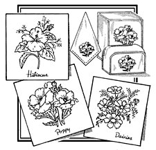 Aunt Martha's Iron On Transfers- Hibiscus, Poppy, & Daisies #3864