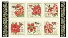 Christmas & Winter Fabric Panel- Holiday Botanical