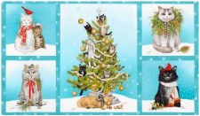 Christmas & Winter Fabric Panel- Holly Jolly Christmas Cats