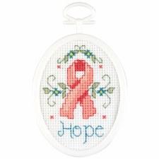 Mini Cross Stitch Kit- Hope Ribbon