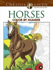 Creative Haven Color-by-Number Adult Coloring Book- Horses